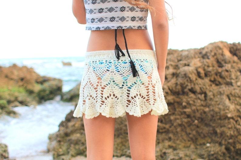 Beach Skirt Cover Up Hippie Skirt Knit Crochet Summer Skirt Etsy