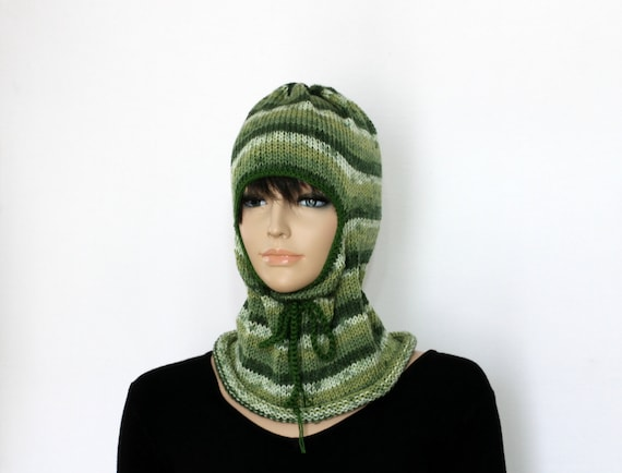 49425724302 Green Balaclava Helmet Knit Hat Winter Hat Beanie Caps and