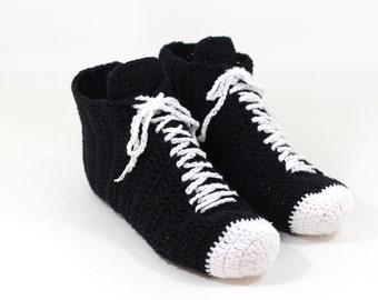 Unisex Slippers, Black Crocheted Sneaker Slippers, Yoga Slippers