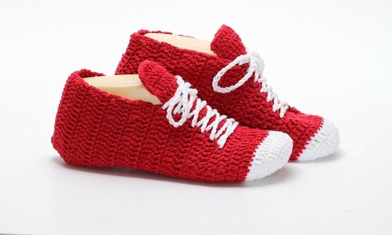 Red Unisex Slippers Crocheted Sneaker