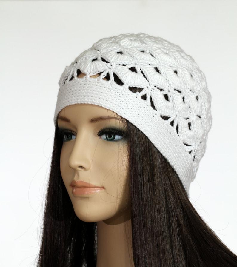 Crochet Bianco Cappello Donna Uncinetto Cappello Berretto E Etsy