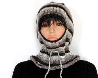 Black Balaclava Helmet Knit Hat Winter Hat Beanie Caps & Beanies  Cap Winter Beanie Hand knitted hat Knitted Hats