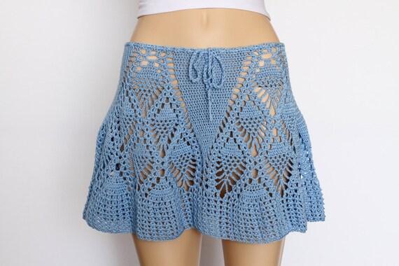 Lace skirt crochet skirt mini skirt teal skirt