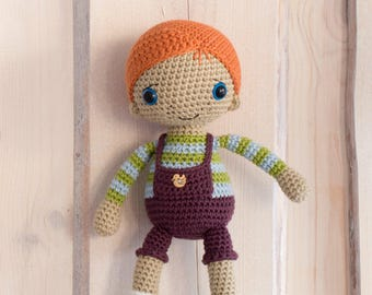 Amigurumi doll pattern - Rudy the Redhead - crochet redhead boy doll, printable pdf, tutorial, DIY