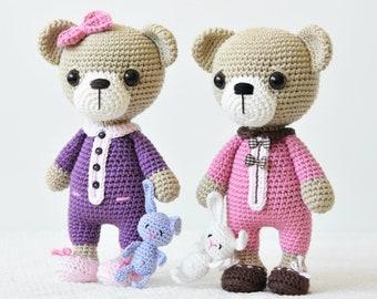 Amigurumi sleepy bear pattern - Sleepy Ida and Itsy-bitsy bunny - crochet bear pattern, printable pdf, DIY