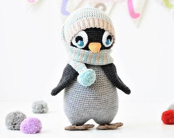 PATTERN - Pompom hat penguin - amigurumi pattern, crochet pattern, penguin pattern, DIY, 5 languages