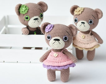 PATTERN - Cupcake dress teddy girl - amigurumi crochet pattern, pdf (English, Dutch)