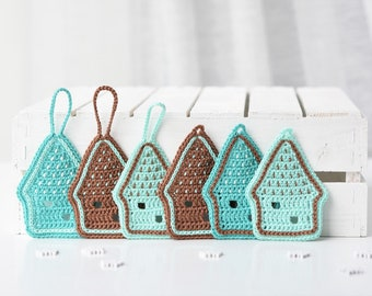 PATTERN - Gingerbread house ornament - crochet pattern, Christmas ornaments, home decorations, crochet ornaments, gift wrapping, DIY