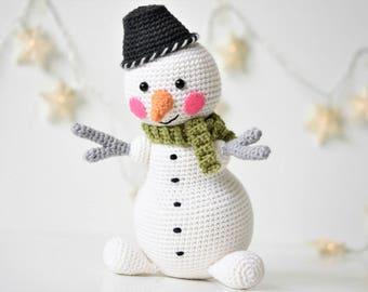 PATTERN - Martin the Light-hearted snowman - amigurumi pattern, crochet pattern, snowman pattern, crochet snowman, DIY, 3 languages