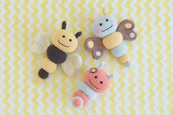 Pattern Bug Rattles Butterfly Bee And Caterpillar Etsy