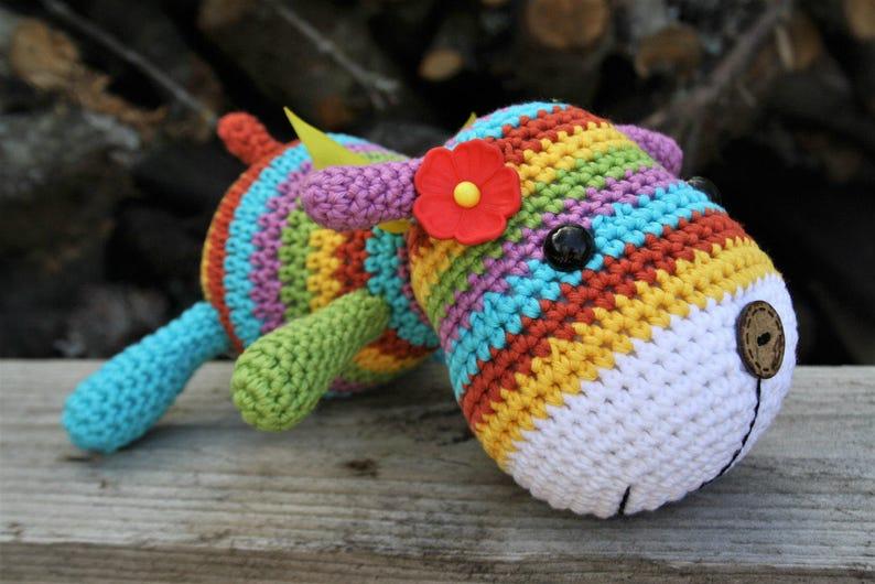 PATTERN  Stripy sock puppy  crochet pattern amigurumi image 0