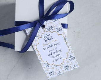 Floral Wedding Favor Tag - Baby Shower Thank You - Lotus Indian Wedding Favor - Navy, Coral, Gray, Turquoise Gift - 2 x 3.5 Inch - Set of 10