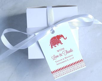 Indian Wedding Favor Tag - Elephant - Hindu Wedding - Bridal Shower Tag - Baby Shower Thank You Tag - 2 x 3 Inch
