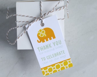 Elephant Baby Shower Tag - Baby Girl, Baby Boy, Gender Neutral Favor - Pink Blue Orange Thank You Tag - Gift Tag - 2 x 3.5 Inch - Set of 10