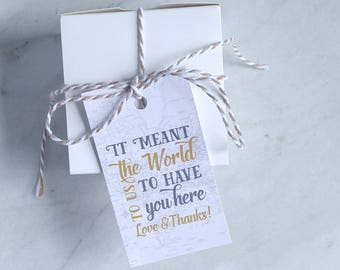Destination Wedding Favor Tag - Travel Theme Baby Shower Thank You - Navy, Teal and Orange, Gray and Gold Map - 2 x 3.5 Inch - Set of 10