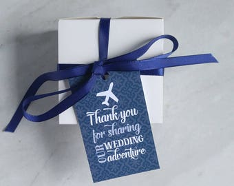 Destination Wedding Favor Tag - Travel Theme Welcome Bag Thank You - Navy, Teal, Pink and Gray - 2 x 3.5 Inch - Set of 10