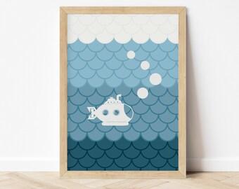 Submarine Print - Nautical Nursery - Nautical Décor - Coastal Décor - Unframed