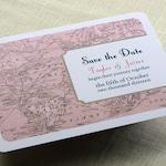Vintage Wedding Save the Date Postcard - Vintage Map - Destination Travel Theme - Color and Font Options