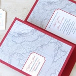 Italy Wedding Invitation Booklet - Florence Tuscany Destination - Vintage Map - Travel Theme - Folded Layered - Choose Your Colors