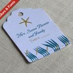 Starfish Beach Place Card Tag - Luggage Tag Destination Wedding Name Card - Escort Card - Custom Colors