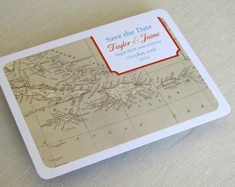 Custom Wording Caribbean Map Wedding Reception Thank You Card Custom Colors Jamaica Bahamas Cruise Destination Travel