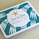 Starfish Beach Save the Date Postcard - Tropical Palm - Destination Wedding - Color and Font Options