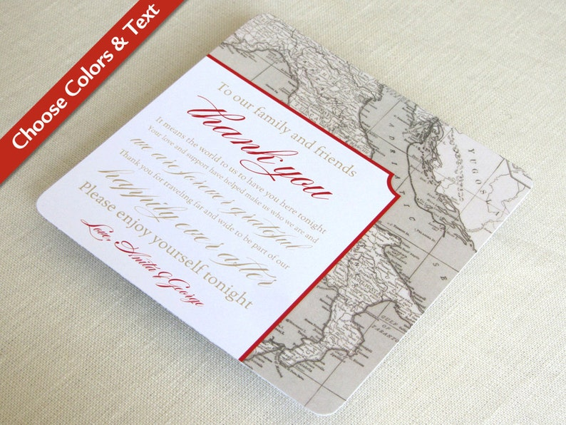 Italy Map Wedding Reception Thank You Card  Tuscany Vintage image 0