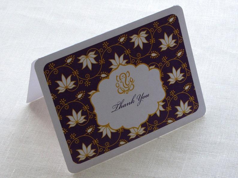Indian Ganesh Thank You Card  Lotus Floral Elegant image 0