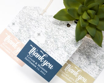 Destination Wedding Favor Tag - 2x3 Inch - Set of 25 with String - Vintage Map Welcome Bag - Travel Theme Thank You - Navy, Blush, Gold