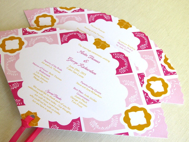 Mexican Wedding Programs  Mexico Tile Fan Program  Talavera image 0