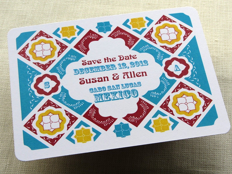 Mexico Save the Date Postcard  Mexican Talavera Tile  image 0