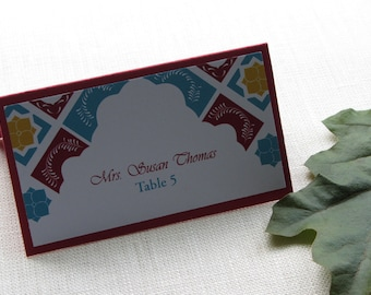 Mexican Tent Place Card - Mexico Talavera Floral Tile Escort Card - Name Card - Custom Colors