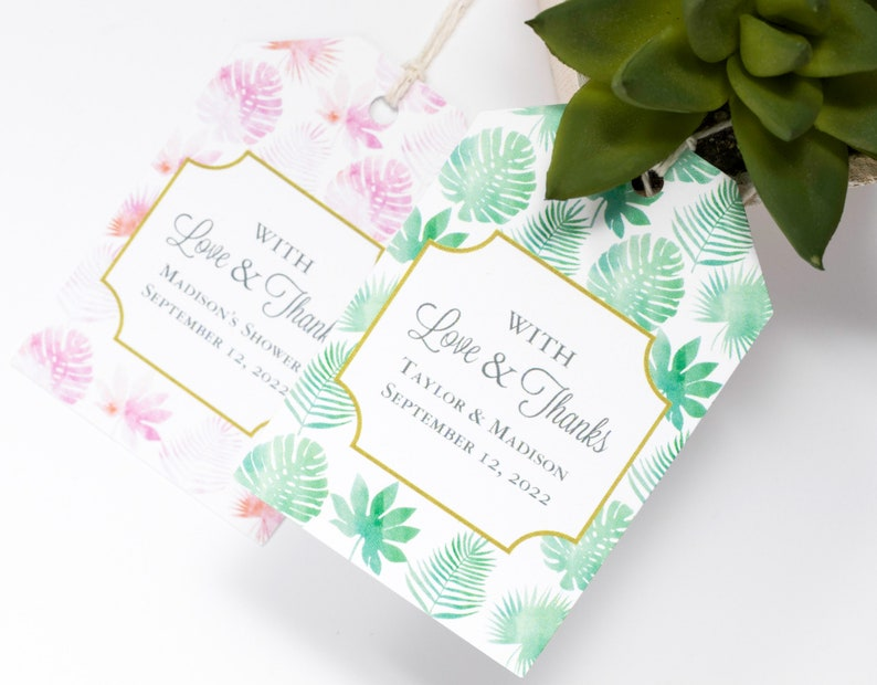 Tropical Leaf Wedding Favor Tag  2x3 Inch  Set of 25 with image 0