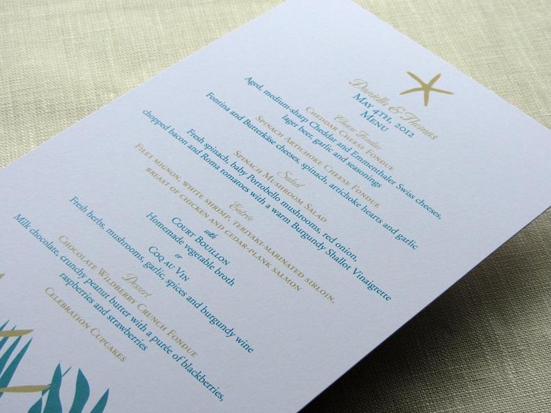 Starfish Menu  Beach Wedding Reception Dinner  Wedding image 0