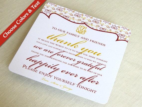 Ganesh Indian Wedding Thank You Card Hindu Destination Reception Guest Bag Custom Colors And Wording Set Of 25