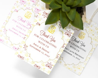 Indian Wedding Favor Tag - 2x3 Inch - Set of 25 with String - Hindu Ganesh Welcome Bag - Bridal or Baby Shower Thank You - Red, Pink or Gold