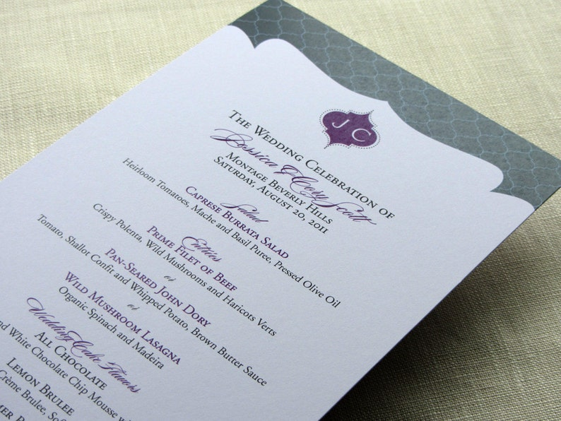 Menu  Elegant Monogram  Reception Dinner  Indian Lattice image 0