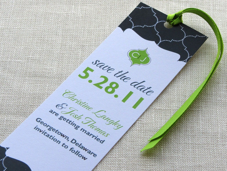 Bookmark Save the Date  Monogram Indian Lattice  Modern and image 0