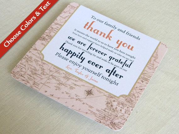 Vintage Map Wedding Reception Thank You Card Destination Travel Custom Colors And Wording Set Of 25