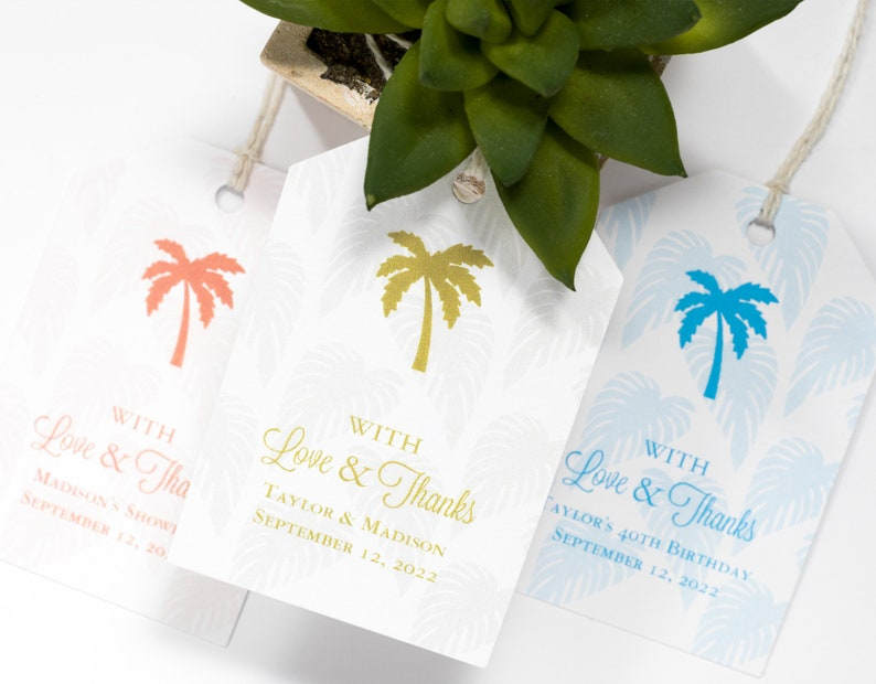 Beach Wedding Favor Tag  2 x 3 Inch  Set of 25 with String  image 0