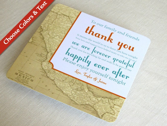 Mexico Map Wedding Reception Thank You Card Vintage Destination Travel Custom Colors And Wording Set Of 25