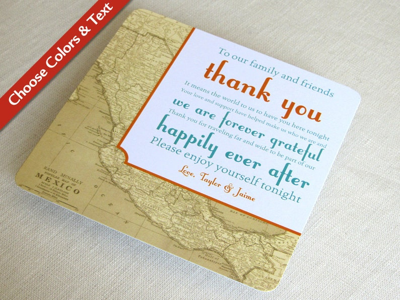 Mexico Map Wedding Reception Thank You Card Vintage image 0