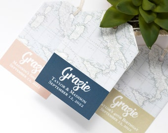 Italy Wedding Favor Tag - 2x3 Inch - Set of 25 with String - Tuscany, Florence Map - Destination Welcome Bag or Thank You - Navy, Pink, Gold