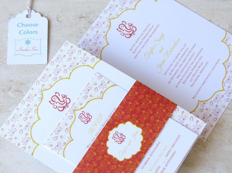 Indian Wedding Invitation Ganesh Lotus Belly Band Hindu | Etsy