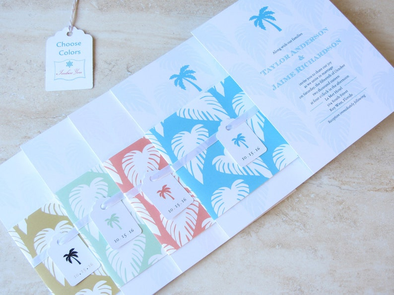 Beach Wedding Invitation   Palm Tree Tropical Destination image 0