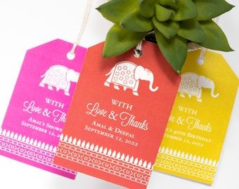 Indian Wedding Favor Tag - 2 x 3 Inch - Set of 25 with String - Hindu Wedding Elephant - Bridal or Baby Shower Thank You - Red, Pink or Gold
