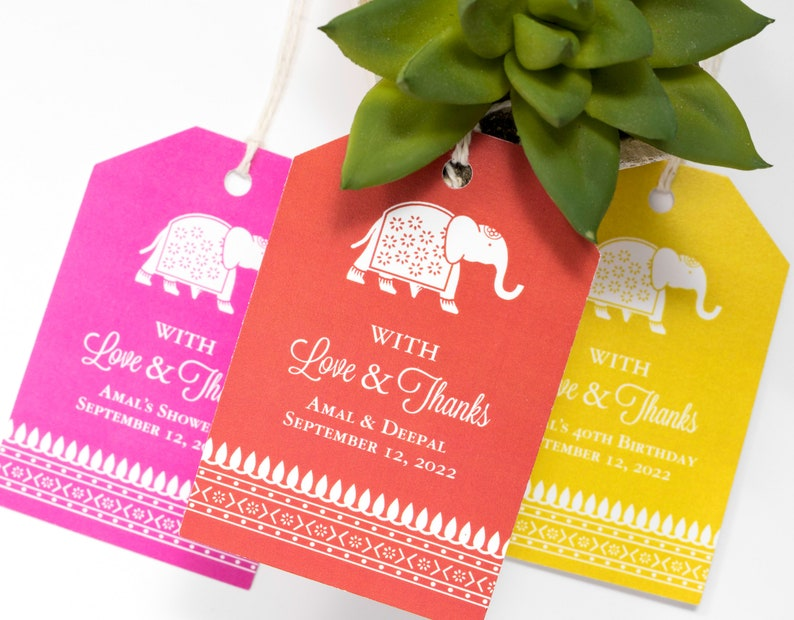 Indian Wedding Favor Tag  2 x 3 Inch  Set of 25 with String image 0