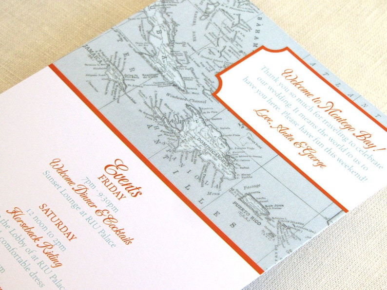 Caribbean Wedding Itinerary Card  Welcome Bag Card  Jamaica image 0