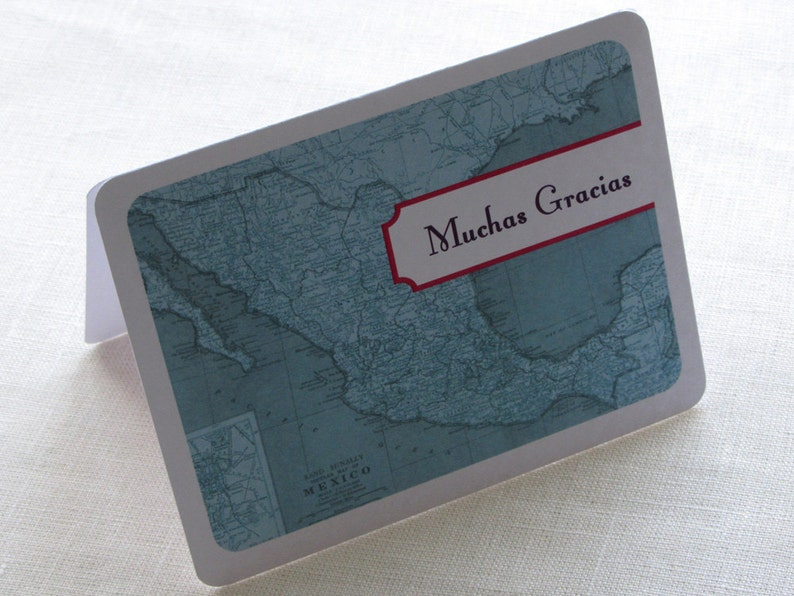 Personalized Vintage Travel Destination Note Card Gift Set of 10 Mexico Map Thank You Card