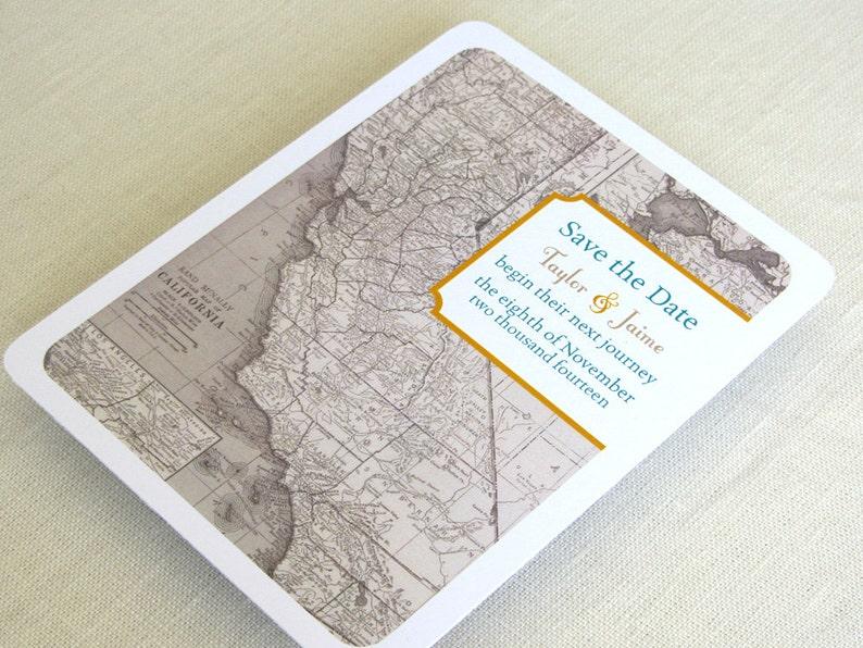 California Wedding Save the Date Postcard  Vintage Map  image 0